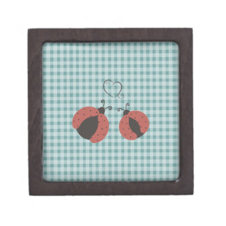 Cute lovely gingham ladybugs in love gift box