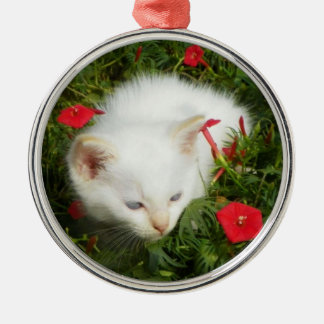 Cute Lovely Kitty,  Round Premium Ornament