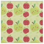 Cute Lovely Red and Green Apple Cartoon Fabric