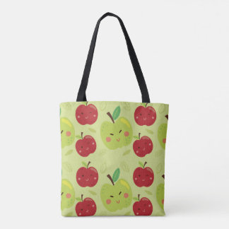 Cute Lovely Red and Green Apple Cartoon Tote Bag