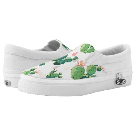 Cute Lovely Succulent Cactus Slip On Shoes