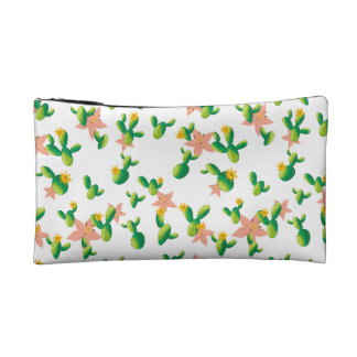 Cute Lovely Watercolor flowers succulent cactus Makeup Bag