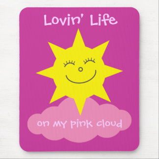 Cute Lovin' Life On My Pink Cloud Recovery Mouse Pad