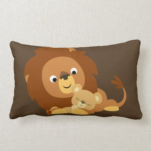 Cute Lion Pillow : Cute Loving Cartoon Lion Dad and Cub Pillow Zazzle