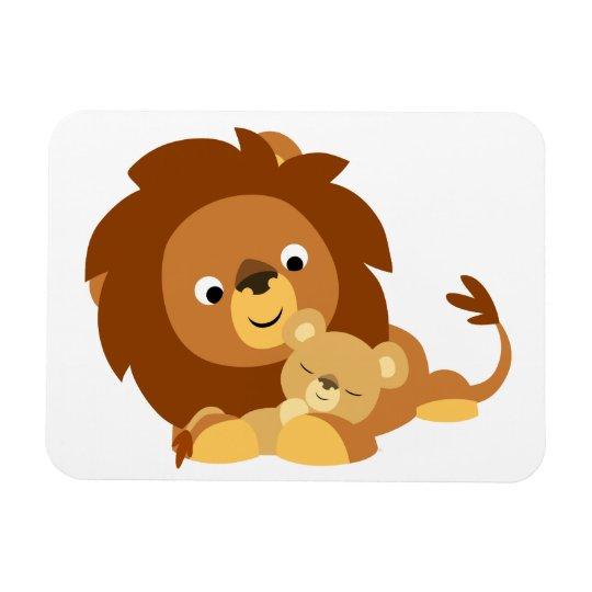 Cute Loving Cartoon Lion Dad & Cub Flexible Magnet