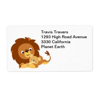 Cute Loving Cartoon Lion Dad & Cub Shipping Label