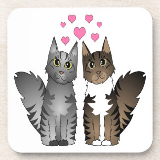 Cute Loving Cats - Grey and Brown Tabby Coaster