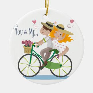 Cute Loving Couple Ceramic Ornament