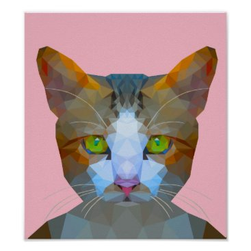 Art Themed Cute low poly cat poster