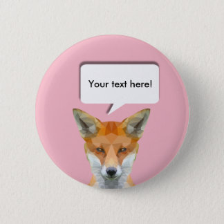 Cute low poly fox customisable pin badge