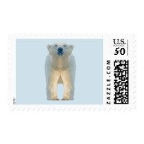Cute low poly polar bear cub postage