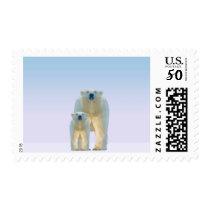 Cute low poly polar bear with cub postage