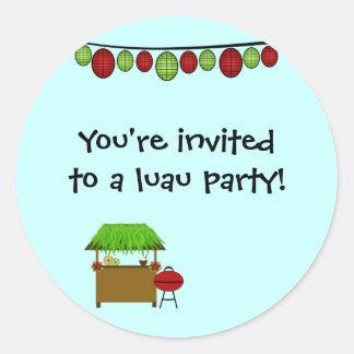 Cute luau boys birthday party stickers
