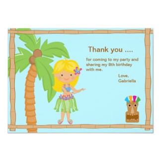 Cute Luau Girl with Blonde Hair Thank You Card