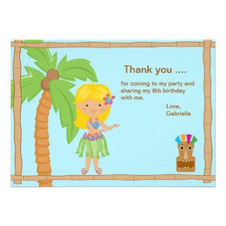 Cute Luau Girl with Blonde Hair Thank You Card Custom Invites