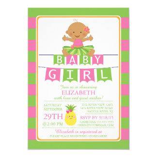 Cute Luau Hula Girl Baby Shower Invitation