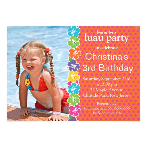 Cute  Luau Little Girl  Birthday Party Invitations