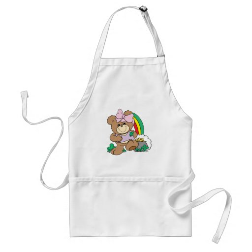 cute luck of the irish st patricks girl teddy bear adult apron