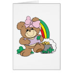 cute luck of the irish st patricks girl teddy bear greeting card