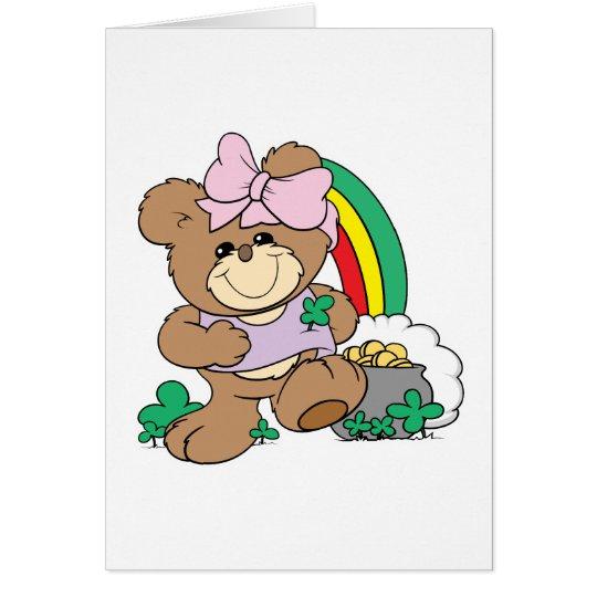 cute luck of the irish st patricks girl teddy bear card