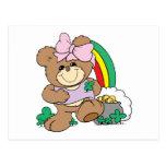 cute luck of the irish st patricks girl teddy bear postcard