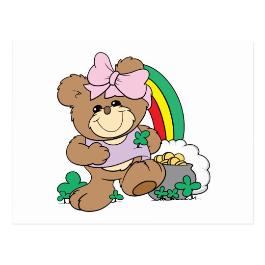 cute luck of the irish st patricks girl teddy bear postcard