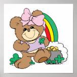 cute luck of the irish st patricks girl teddy bear poster