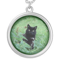 Cute Lucky Black Cat On Sterling Silver Necklace at Zazzle