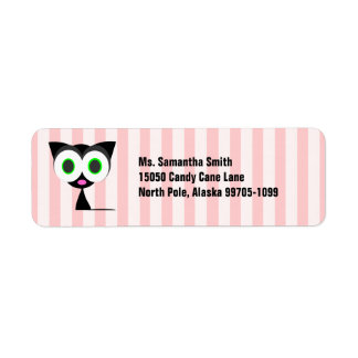 Cute Lucky Black Cat Pink Return Address Label