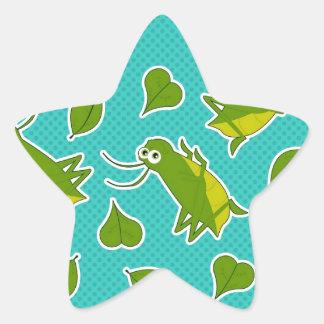 Cute Lucky Cricket Print Star Sticker