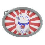 Cute Lucky cute neko cat Red and white Oval Belt Buckle