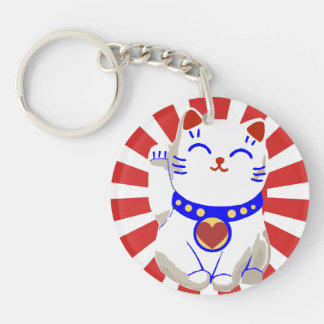 Cute Lucky cute neko cat Red and white Double-Sided Round Acrylic Keychain