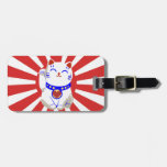 Cute Lucky cute neko cat Red and white Tags For Luggage