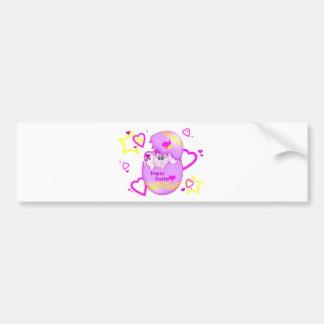 Cute Lucky Pinkie Happy Easter Bumper Sticker Car Bumper Sticker