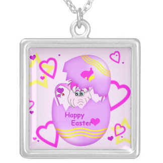 Cute Lucky Pinkie Happy Easter Necklace