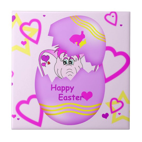 Cute Lucky Pinkie Happy Easter Tile