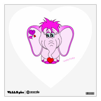 Cute Lucky Pinkie Pink Elephant Wall Decal