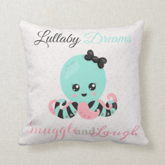 Cute Lullaby Dream Laugh Decor Neutral Octopus Throw Pillow
