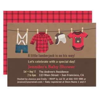 Cute Lumberjack Plaid Clothes Baby Shower Invites