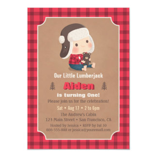 Cute Lumberjack Teddy Bear Birthday Party Invites