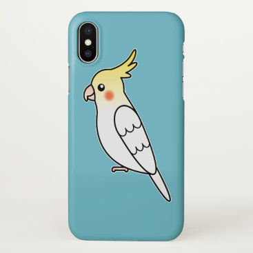 Beach Themed Cute Lutino Cockatiel Cartoon Bird Illustration iPhone X Case
