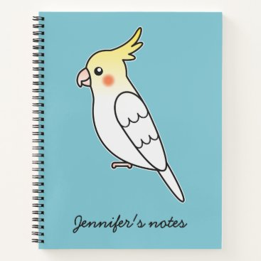 Beach Themed Cute Lutino Cockatiel Cartoon Bird Illustration Notebook
