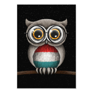 Cute Luxembourg Flag Owl Wearing Glasses Card