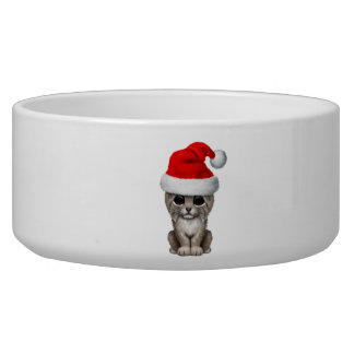 Cute Lynx Cub Wearing a Santa Hat Bowl