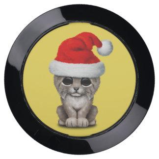 Cute Lynx Cub Wearing a Santa Hat USB Charging Station