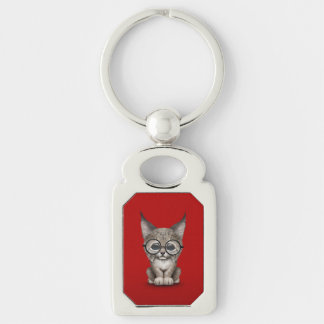 Cute Lynx Cub Wearing Reading Glasses on Red Keychain