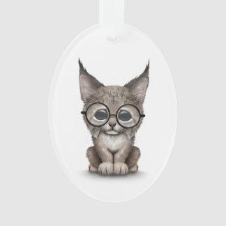 Cute Lynx Cub Wearing Reading Glasses on White Ornament