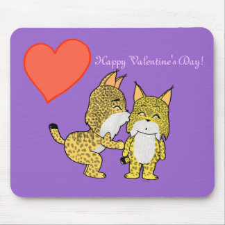 Cute Lynxes in love Mouse Pad