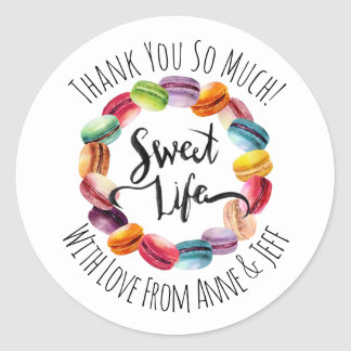 Cute Macaroon Cookies Personalized Thank You Classic Round Sticker
