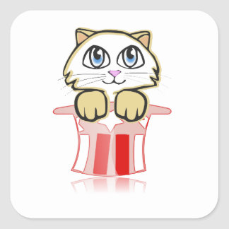 cute magic cate square sticker